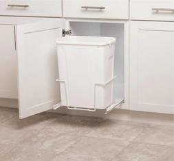 Plastic Pull Out 35 qt Trash Can White Garbage Bin Basket Wa