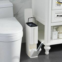 Plastic Trash Can 6L Toilet Brush Set Bathroom Waste Bin Dus