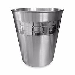 Pleated Stainless Steel Wastebasket Garbage Can Pail