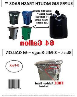 64 Gallon Super Big Mouth Trash Bags 3-Pack Plus 1 Free Rubb