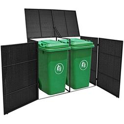 Poly Rattan Double Wheelie Bin Shed Shelter Hider Cover, Bla