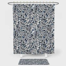 Popstar Party Shower Curtain And Floor Mat Combination Set C