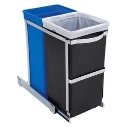 Svitlife Pull Out Blue Recycle Bin Black Trash Can Slides Un
