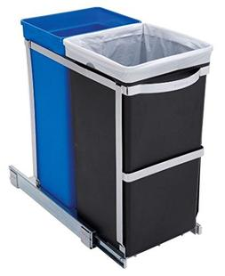 K&A Company Pull Out Blue Recycle Bin Black Kitchen Under Tr
