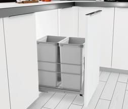 PULL OUT KITCHEN CABINET TRASH CAN 2-BIN WASTE GARBAGE CONTA