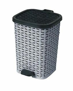 1.6-Gal. Rattan Compact Trash Bin Color: Grey and Black