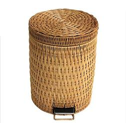 Rattan trash can household European foot-style garbage barre