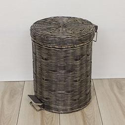 Ving Rattan trash cans,Outdoor retro large size pedal toilet