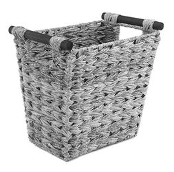 Whitmor Split Rattique Waste Basket with Wood Handles - Gray