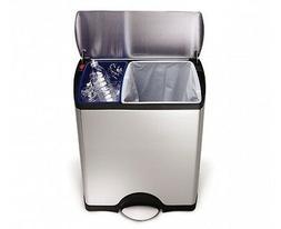 simplehuman Rectangular Step Recycler, Fingerprint-Proof, Br