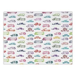 Rectangular Satin Tablecloth,Cars,Various Types of Vehicles