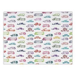 Rectangular Satin Tablecloth,Cars,Various Types of Vehicles