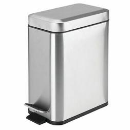 mDesign 5 Liter Rectangular Small Stainless Steel Step Trash