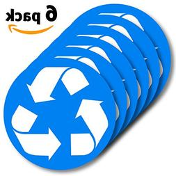 6 Pack  Recycle logo sticker to organize your trash - For tr
