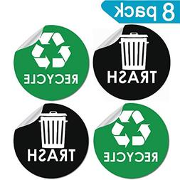 "8 Pack Recycle Sticker Sign Trash Decal Bin Label - 4"" x 4"""