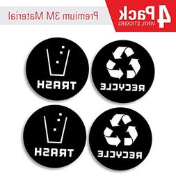 Recycle and Trash bin Logo Stickers  4in x 4in - Organize Tr