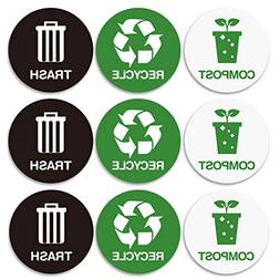 Recycle and Trash bin Logo Stickers - Recycle Sticker Trash
