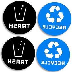 Recycle and Trash bin Logo Stickers  4in x 4in - 7mil - Lami