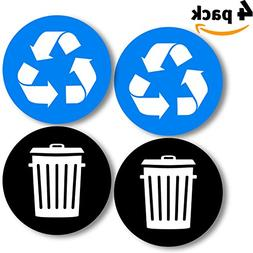 Recycle and trash logo stickers  4in x 4in - Organize trash