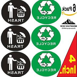 Mountain View 6 Pack of 4 inch Recycle & Trash Symbol Sticke