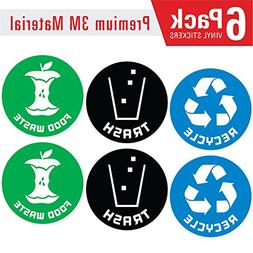 Recycle,Trash and Compost  bin Logo Stickers  4in x 4in - Or