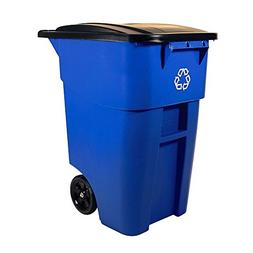 Recycling Bin for Outside Mobile Trash Can with Wheels and L