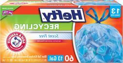 60 Count 13 Gallon Recycling Trash Bin Bags Blue Tall Kitche