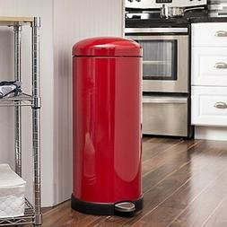 Red Kitchen Garbage Can 8 Gal Metal Trash Cans Flip Top Soft