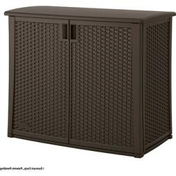 Suncast Resin Wicker Outdoor Cabinet, Java