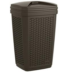 Resin Wicker Garbage Can With Removable Lid Exterior Waste R