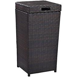 NAKSHOP Resin Wicker Garbage Can With Lid Exterior Waste Rub