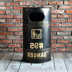 Ging Retro garbage can,Iron barrel storage box personal crea