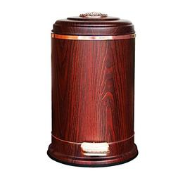 DUOER home Retro Style Trash Can Imitation Mahogany Stainles