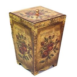 Retro Wooden Trash Can European Pastoral Cover Living Room B