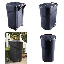 Rubbermaid Roughneck Trash Can With Lid 45 Gal Black Wheeled