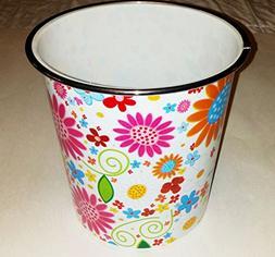Kole Imports Small Round Floral Pattern 1.3 Gallon Wastebask