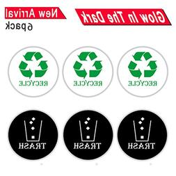 Round Recycle Trash Sticker Sign for Easy Recognition, 4 Inc