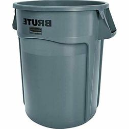 Round Trash Garbage Can Heavy Duty 55 Gallon Gray Reinforced