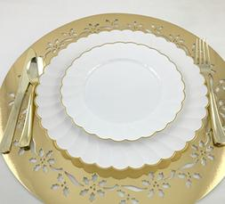 Round White and Gold Rim Elegant Wedding and Party Plastic P