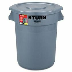 Rubbermaid Brute 32 Gallon Round Trash Can with Lid, Gray