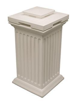 Savannah Column Bin, White, Plastic, Removable Liner, Decora