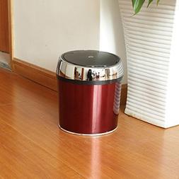 Sensor dustbin wine red drum silver ring black cover 6L9L12L