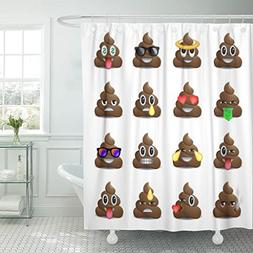 VaryHome Shower Curtain Brown Poop of Shit Smiling Faces Sym