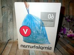Simple Human Code V Trash Bag 18L 60 Count Blue Drawstring A