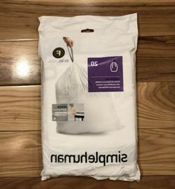 simplehuman Code F Custom Fit Liners, Drawstring Trash Bags,