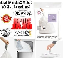 Simplehuman Code M Custom Fit Trash Bag Can Liner 20 Liners