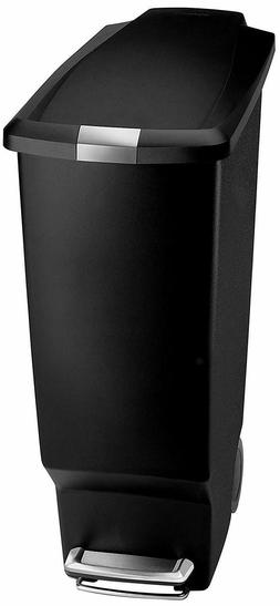 simplehuman Semi-Round Step Trash Can, Black Plastic, 50 L /
