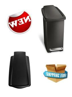 simplehuman Slim Step Trash Can Black Plastic Garbage Holder