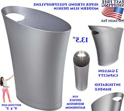 SLIM TRASH CAN BATHROOM KITCHEN BIN 2 GALLON GARBAGE OFFICE