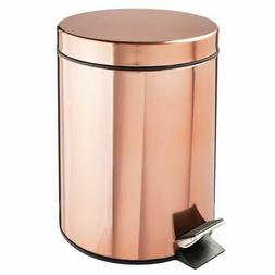 mDesign Small Round Step Trash Can Garbage Bin, Removable Li